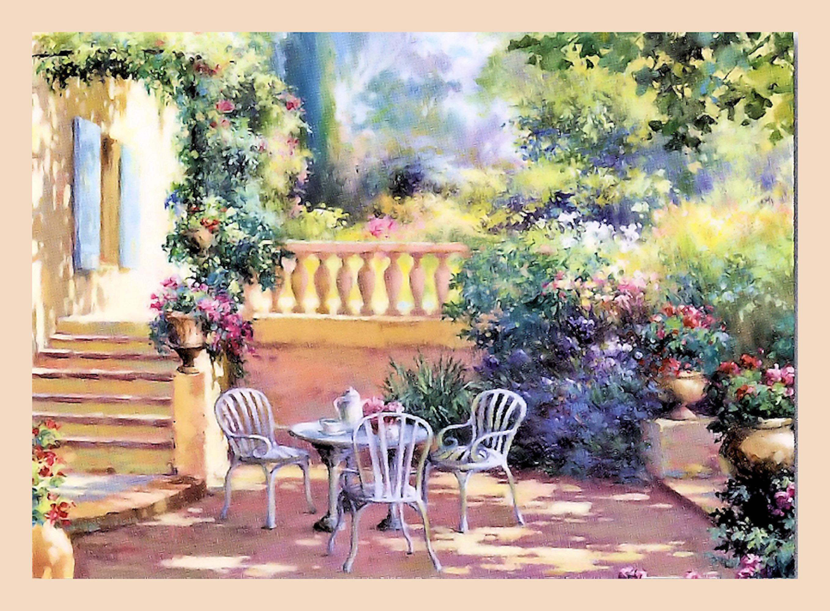 Home affaire Wandbild »Romantische Terrasse«, Garten, mit Rahmen