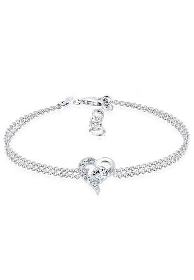 Elli Armband »Herz Liebe Kristalle 925 Silber«