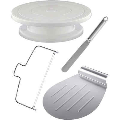 Praknu Tortenplatte »4Tlg Tortenplatte Drehbar Set«, Plastik-Edelstahl, (Set, 4-tlg), inkl. Tortenheber, Streichpalette und Tortenschneider, Edelstahl - Spülmaschinenfest
