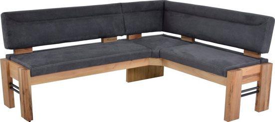 K+W Komfort & Wohnen Eckbank »Floyd«, gepolstert, Stauraumbank, Massivholz mit Roheisen, wahlweise langer Schenkel rechts oder links in 2 Qualitäten