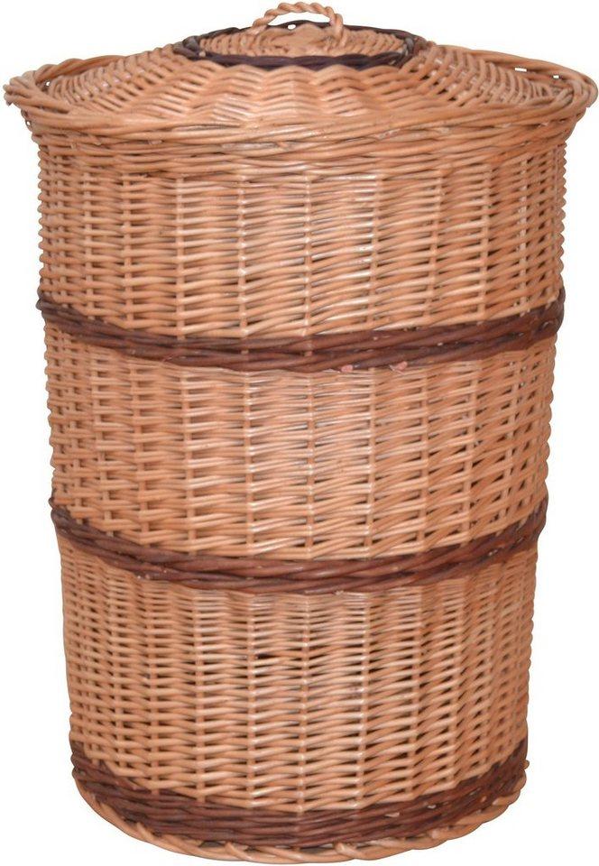 Wäschekorb aus gesottener Weide, mit dekorativen Streifen online kaufen OTTO ~ 02051540_Wäschekorb Weide Eckig Mit Deckel