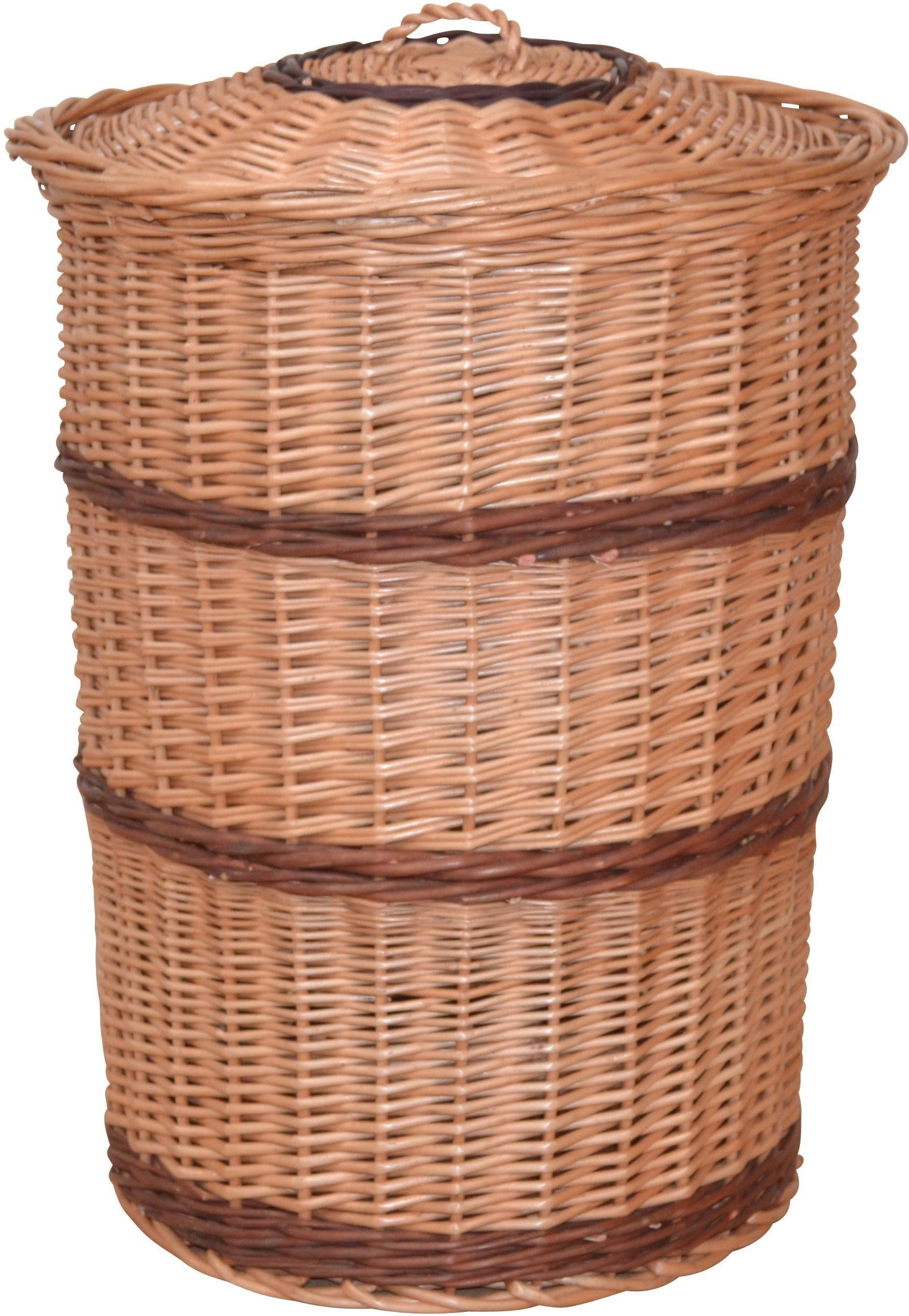 Wäschekorb aus gesottener Weide, mit dekorativen Streifen