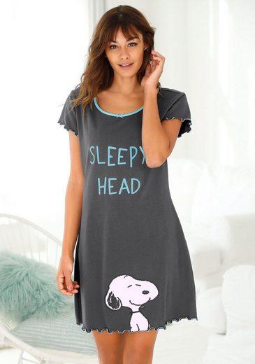 Peanuts Nachthemd mit Snoopy Print und Kräuselsäumen