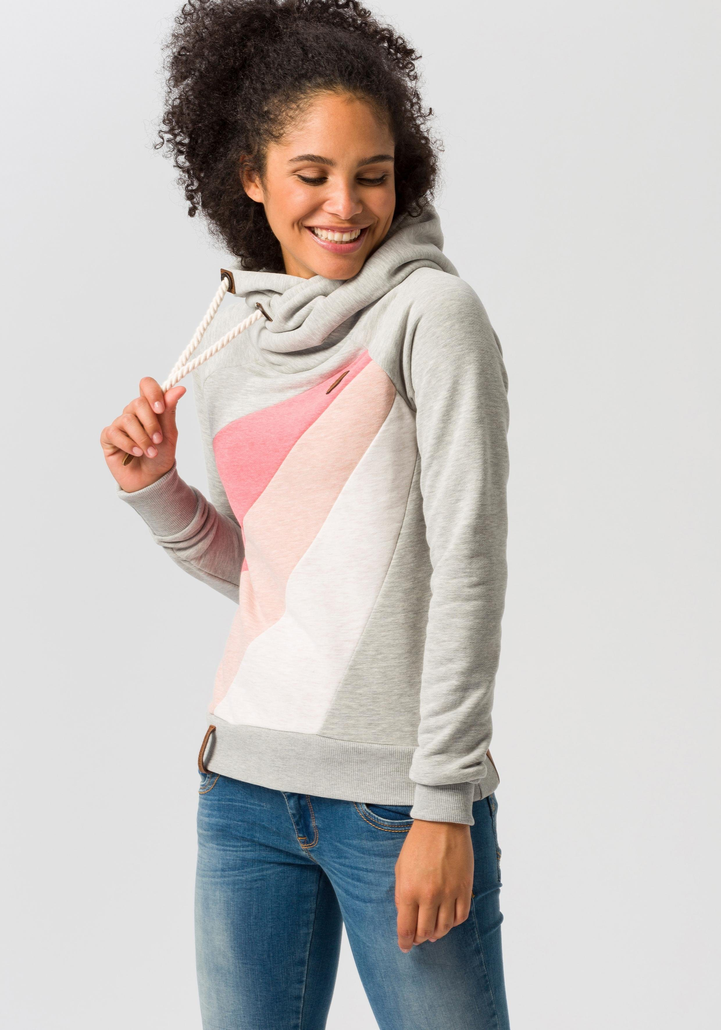 Damen naketano Hoodie Sensitive dependence mit Querstreifen grau | 04060606173931