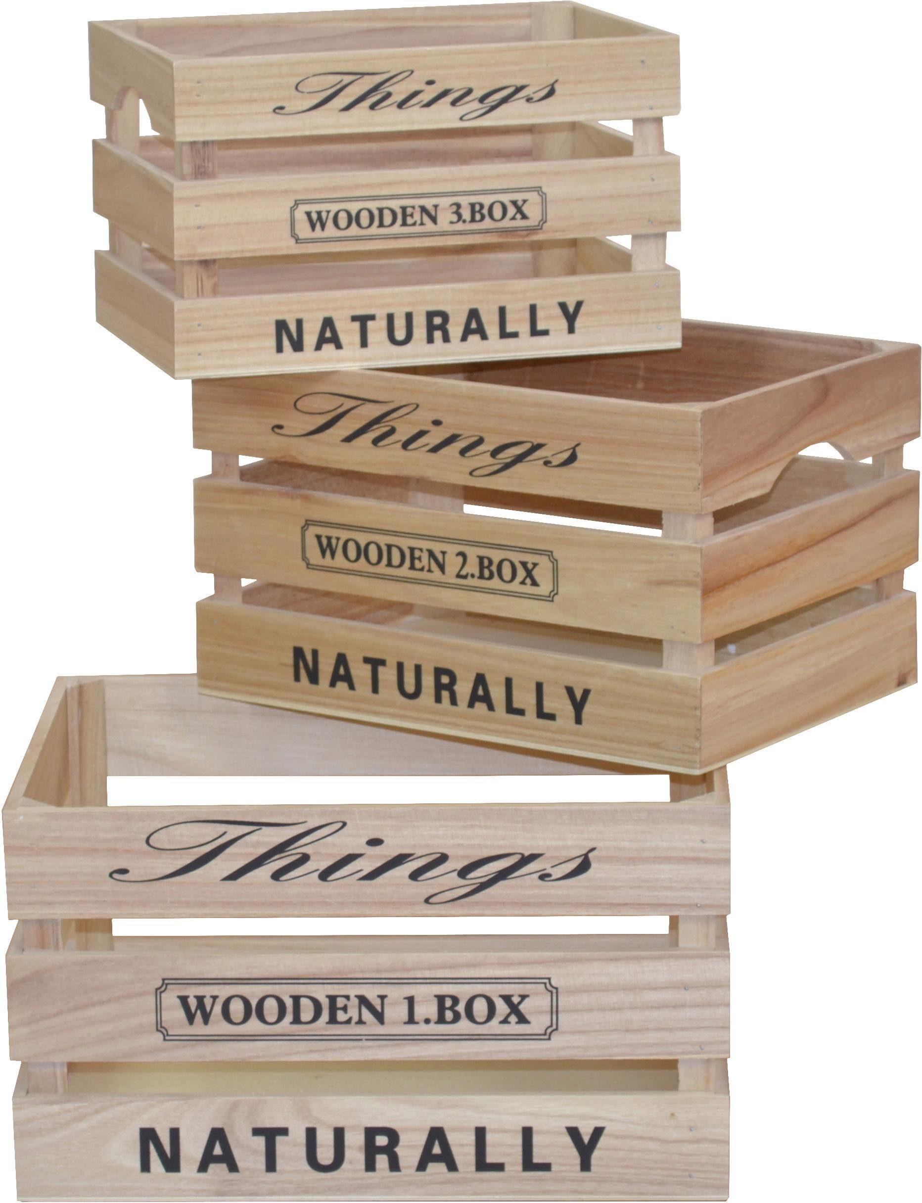 Holzkisten aus Massivholz mit Printaufdruck, im Vintage-Look, 3er Set