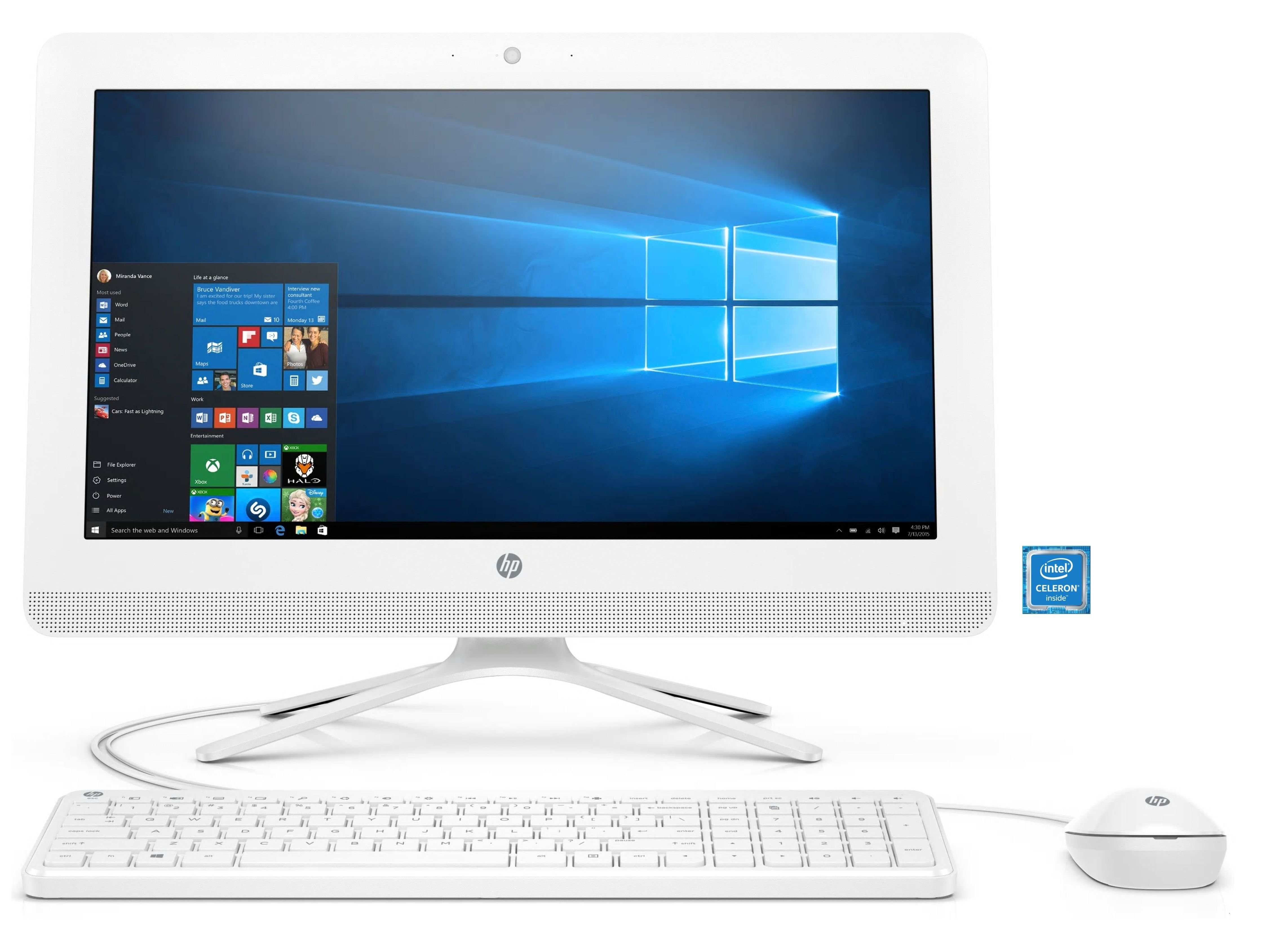 "HP 20-c453ng All-in-One PC white »Intel Celeron, 49,53 cm (19,5"") 1 TB, 8 GB«"