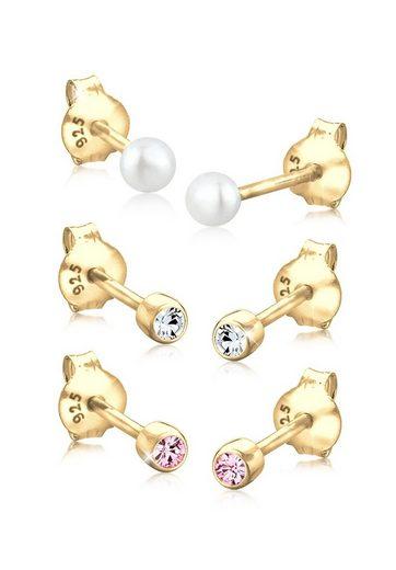 Elli Ohrring-Set »Kugel Perle Set Swarovski® Kristalle 925 Silber«