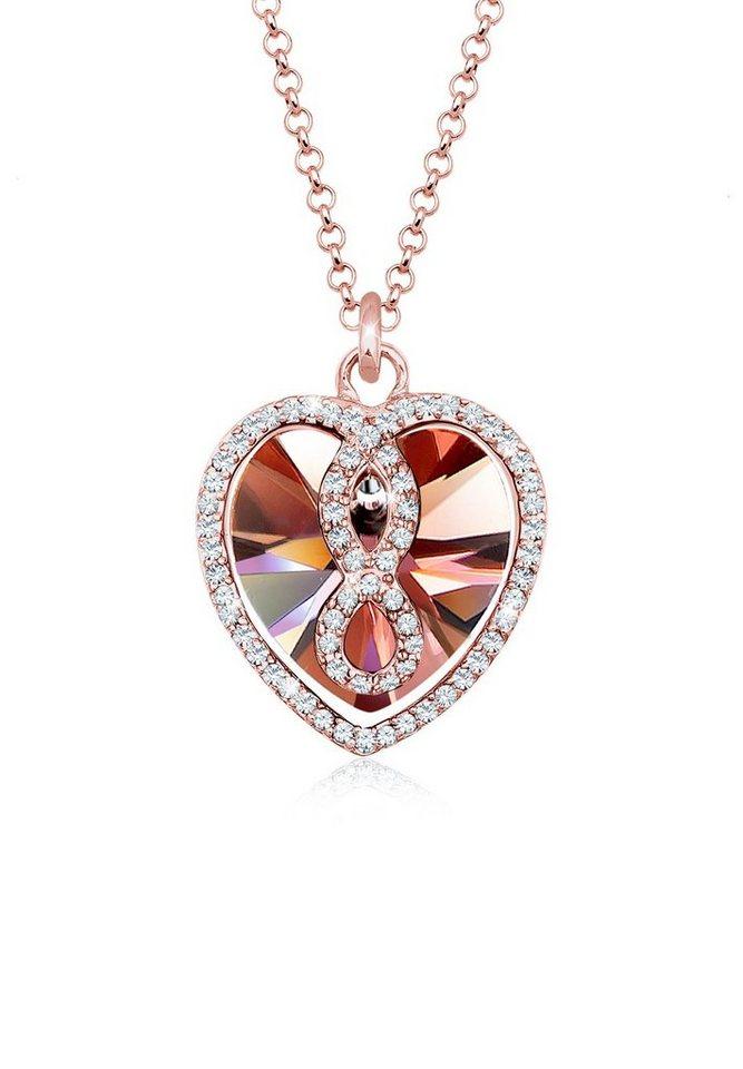 Elli Collierkettchen »Herz Infinity Swarovski® Kristall Icône 925 Silber«