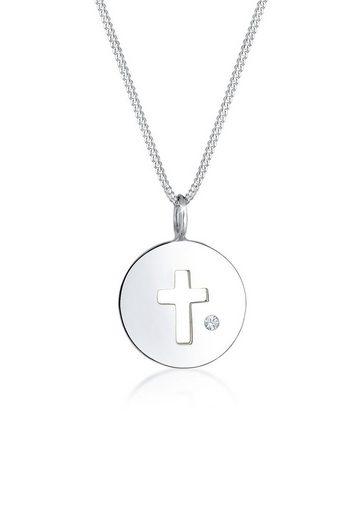 Elli Collierkettchen »Kreuz Münze Kristalle 925 Silber«