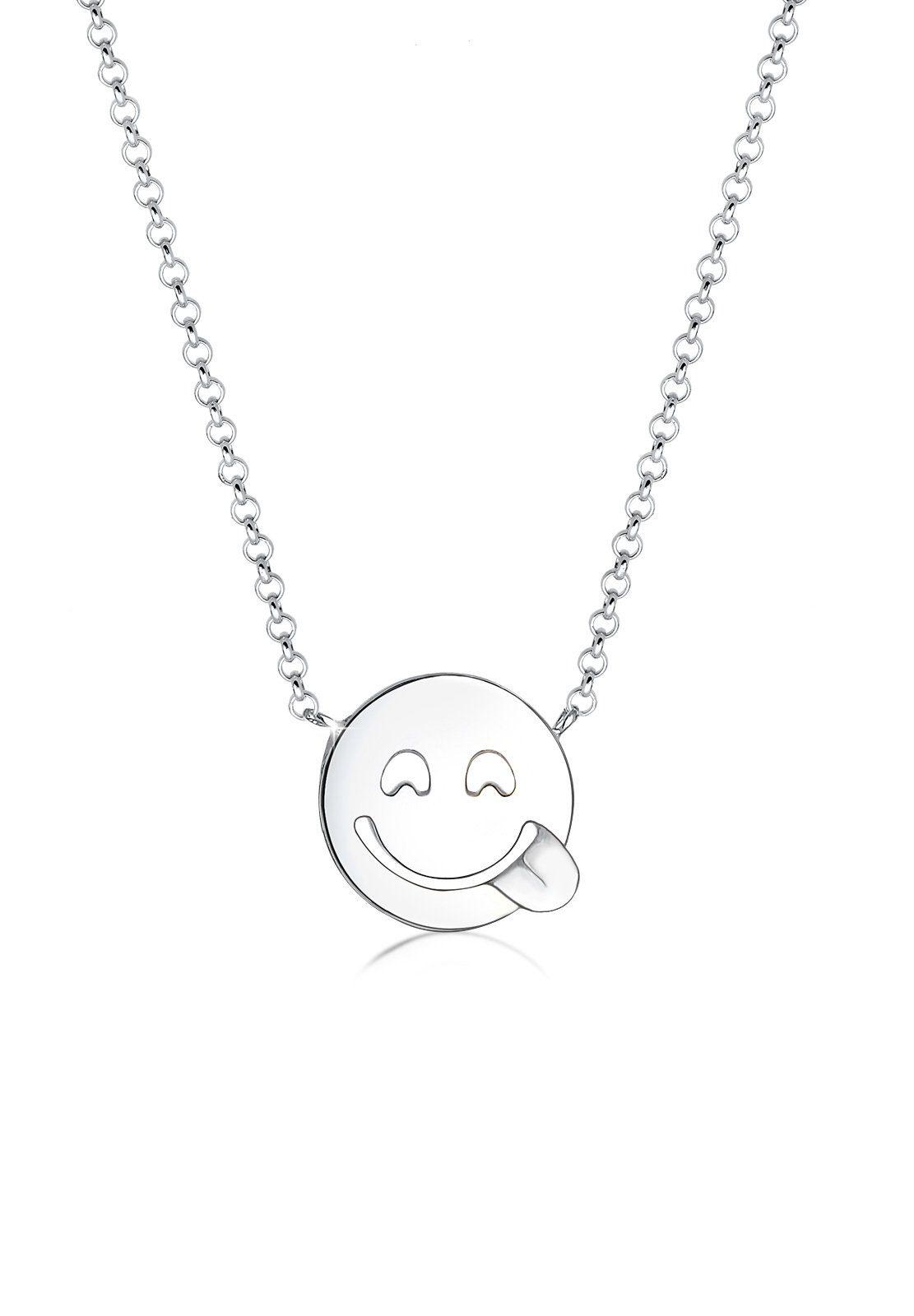 Elli Collierkettchen »Smiley Face Emotion Emoji 925 Sterling Silber«