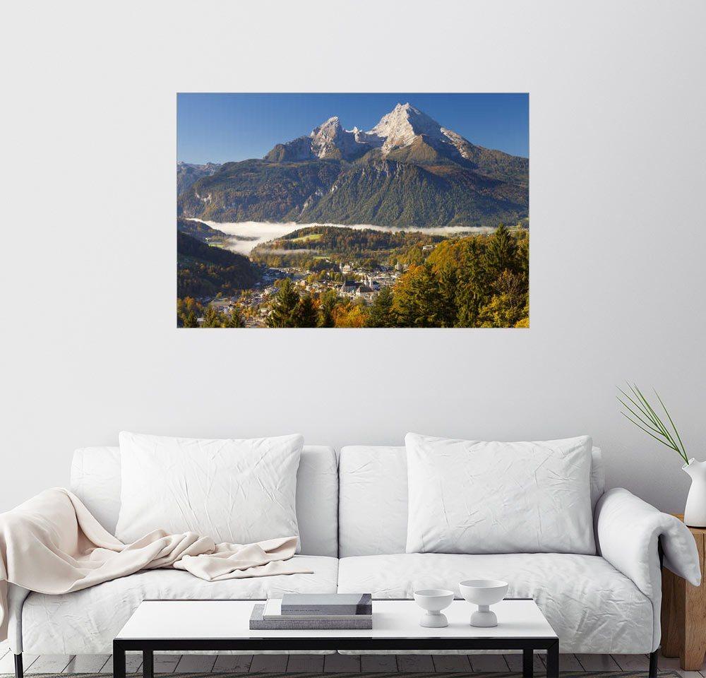 Posterlounge Wandbild - Miles Ertman »Berchtesgaden mit Watzmann« | Dekoration > Bilder und Rahmen > Bilder | Holz | Posterlounge