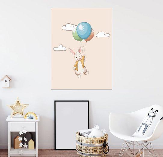 Posterlounge Wandbild - Kidz Collection »Kleiner Hase mit Ballons«