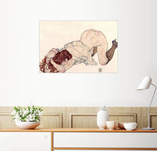 Posterlounge Wandbild - Egon Schiele »Kniendes Mädchen ruht auf beiden Ellbogen«