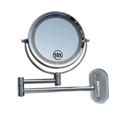 Lüllmann Schminkspiegel »LED Licht Doppel Schminkspiegel 10-fach Make up Spiegel Kosmetikspiegel Beleuchtet« (1-St), Spiegeldurchmesser: 20cm (inkl. LED Ring) - 1 Seite mit Normalspiegel, die 2. Seite mit 10-fach Vergrößerung