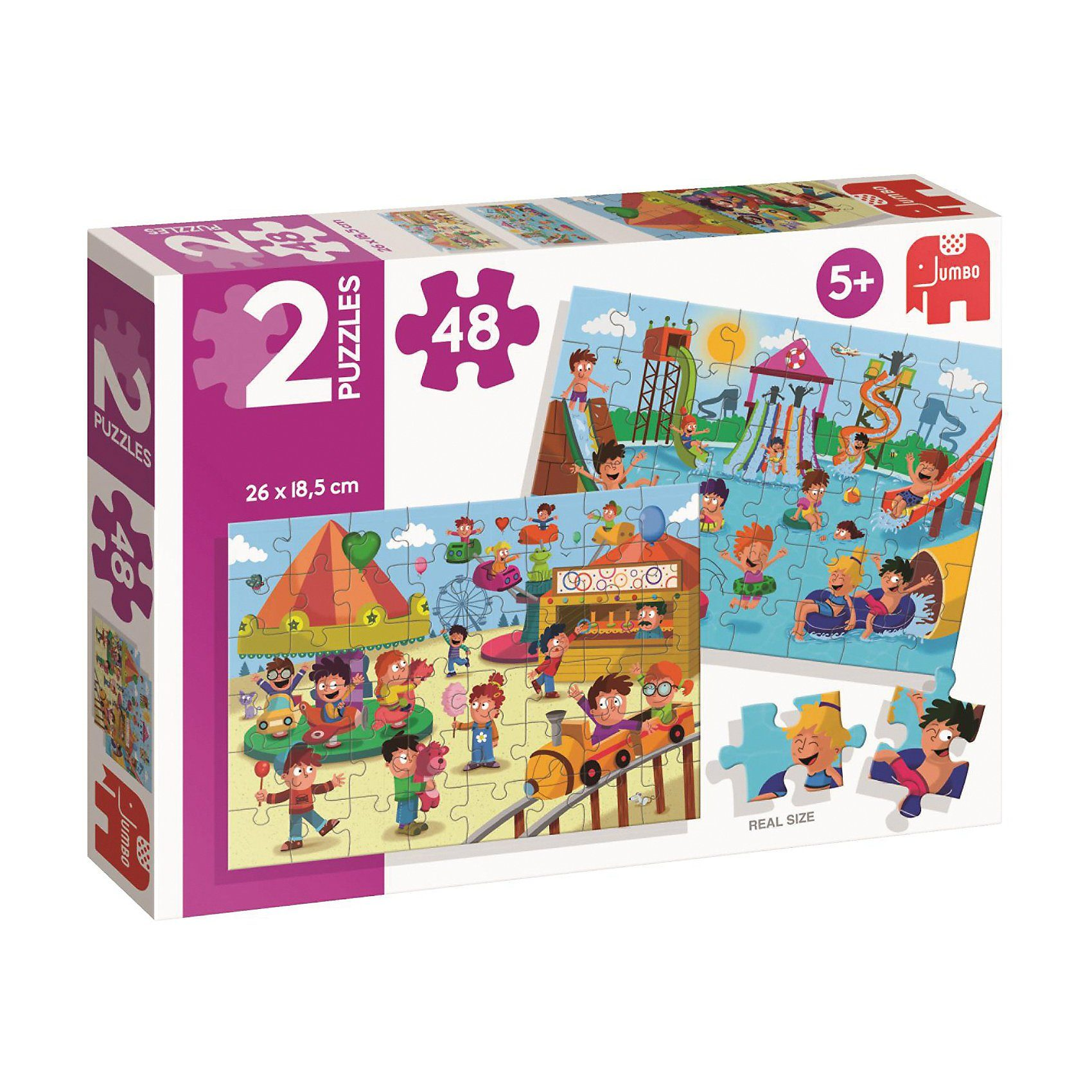 Jumbo Puzzle 2x48 Teile - Schwimmbad & Kirmes