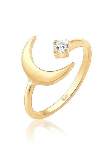 Elli Ring »Halbmond Astro Offen Zirkonia 925 Silber vergoldet«