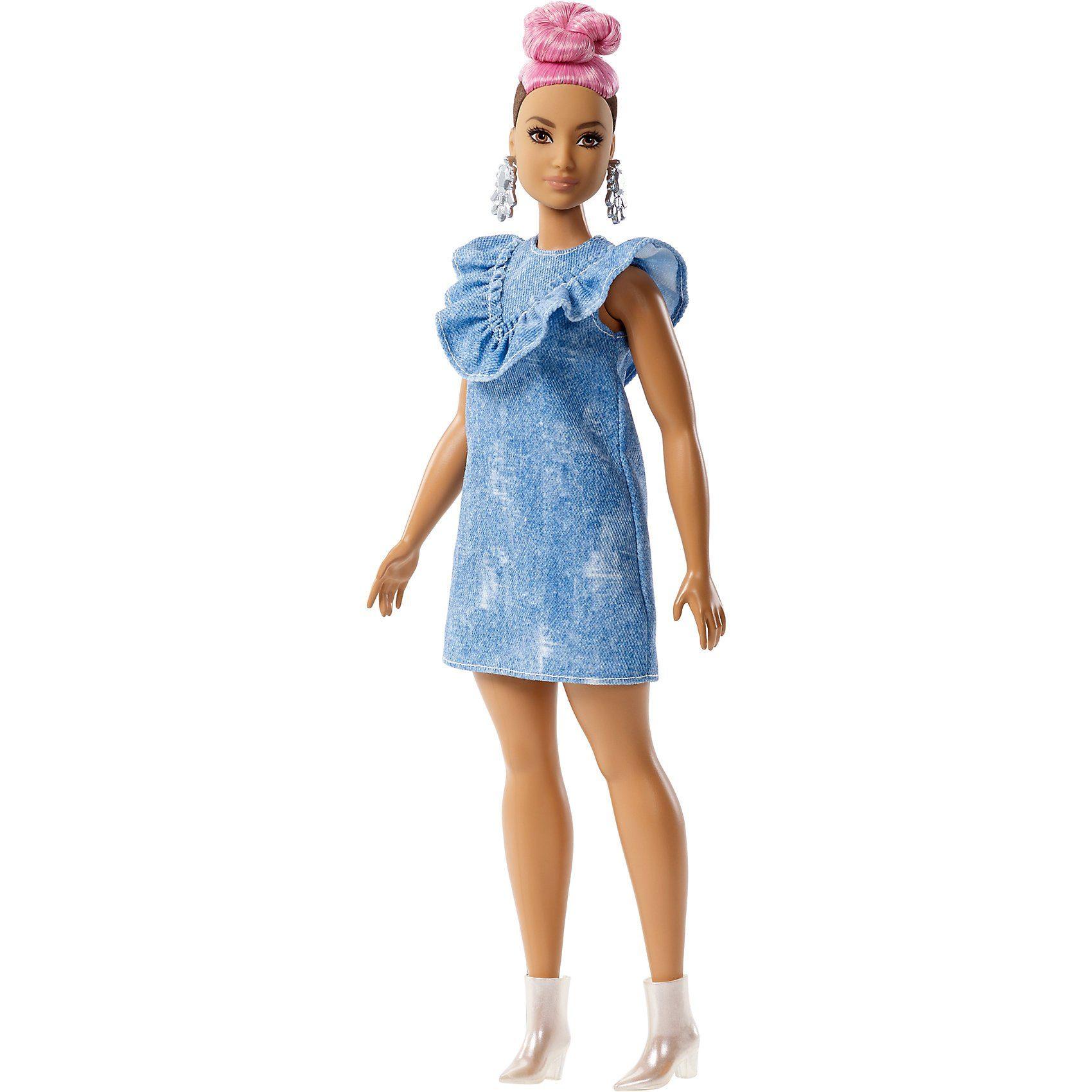 Mattel® Barbie Fashionistas Puppe mit pinkem Dutt im Jeanskleid