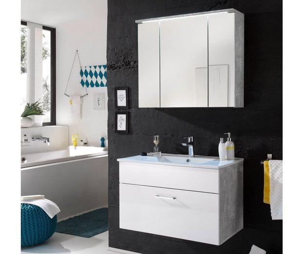 DELIFE Badezimmer Sibyl Weiss Hochglanz 80 cm mit Becken