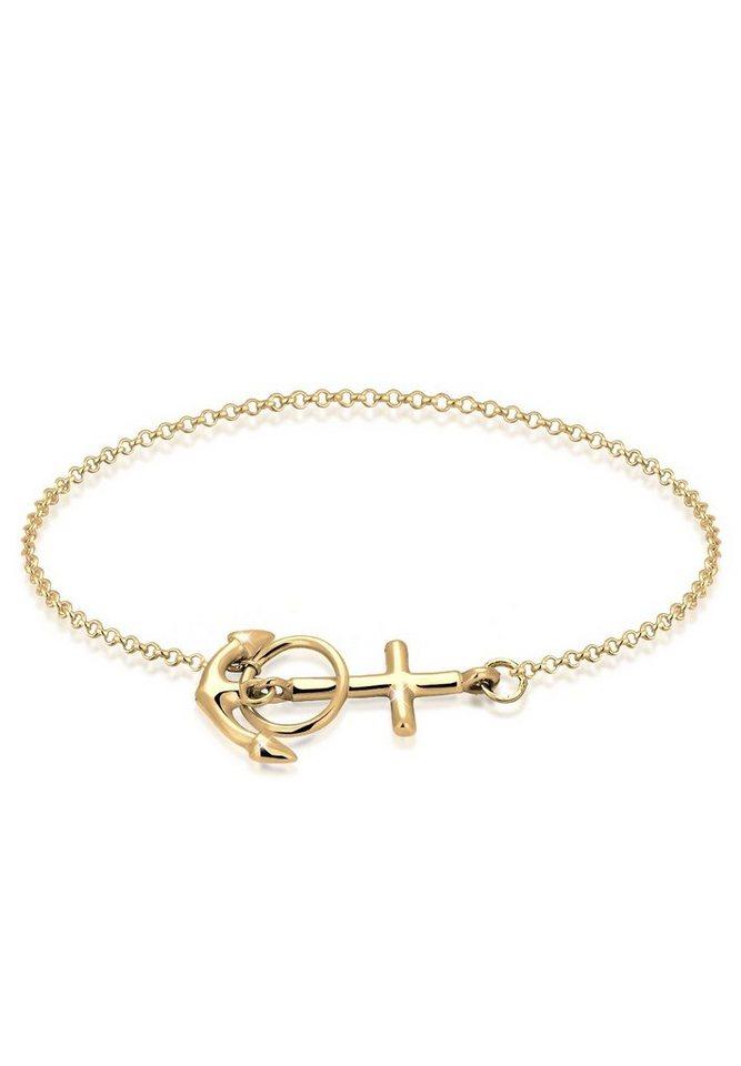 Elli Armband »Anker Kreuz 925 Sterling Silber« | Schmuck > Armbänder > Silberarmbänder | Goldfarben | Elli