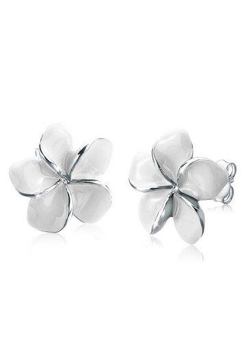 Elli Paar Ohrstecker »Frangipani Blüte Natur Blume Emaille 925 Silber«