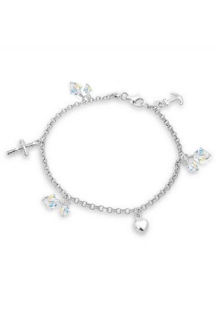 Elli Bettelarmband »Kreuz Herz Anker Swarovski® Kristalle Silber« | Schmuck > Armbänder > Bettelarmbänder | Elli