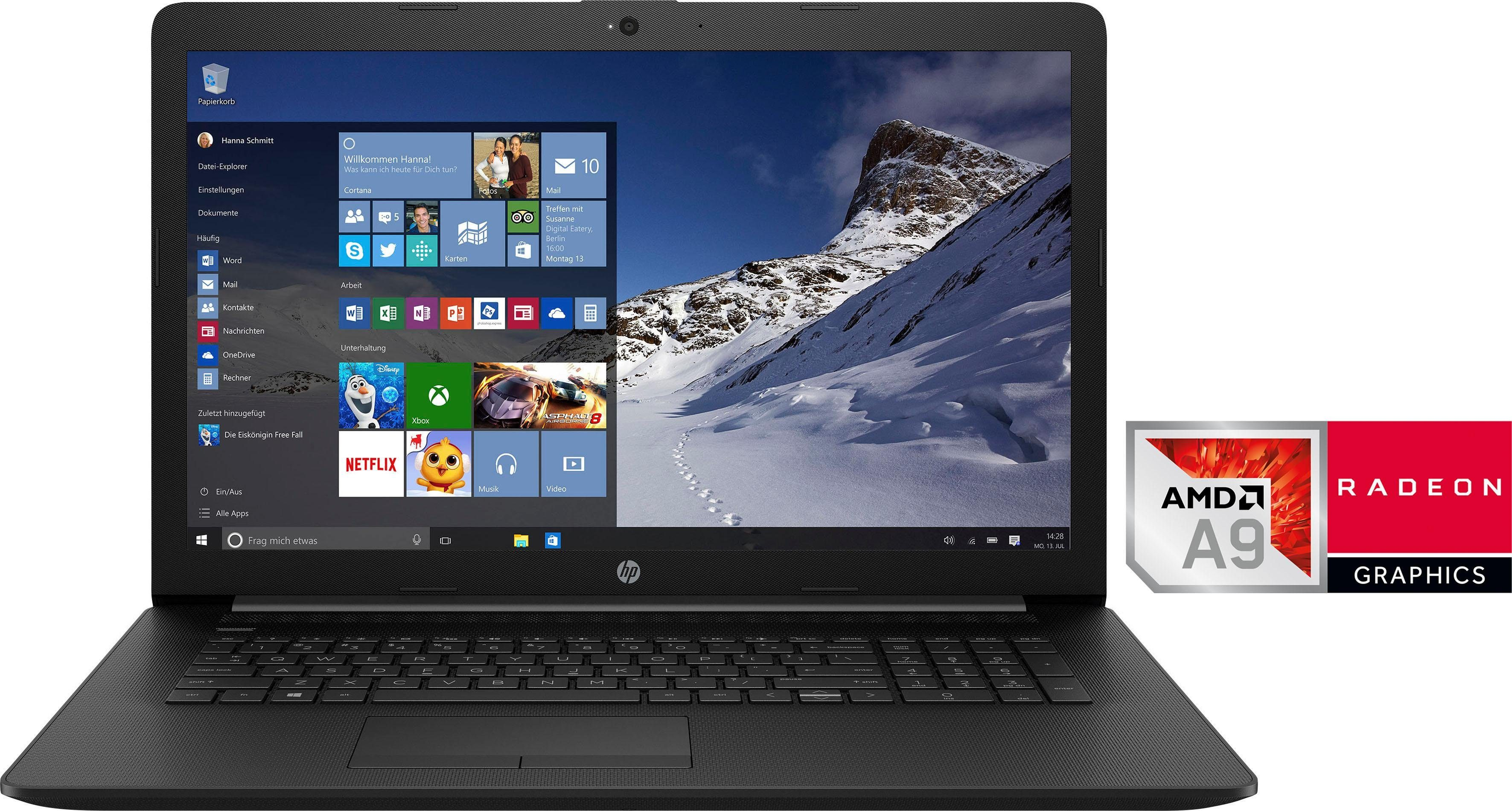 HP 17-ca0007ng Notebook (43,9 cm/17,3 Zoll, AMD A9, 1000 GB HDD, inkl. Office 365 Personal (ESD)