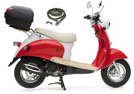 Nova Motors Motorroller »Retro Star«, 49 ccm, 45 km/h, Euro 4, (Set, mit Topcase), 49 ccm, 45 km/h