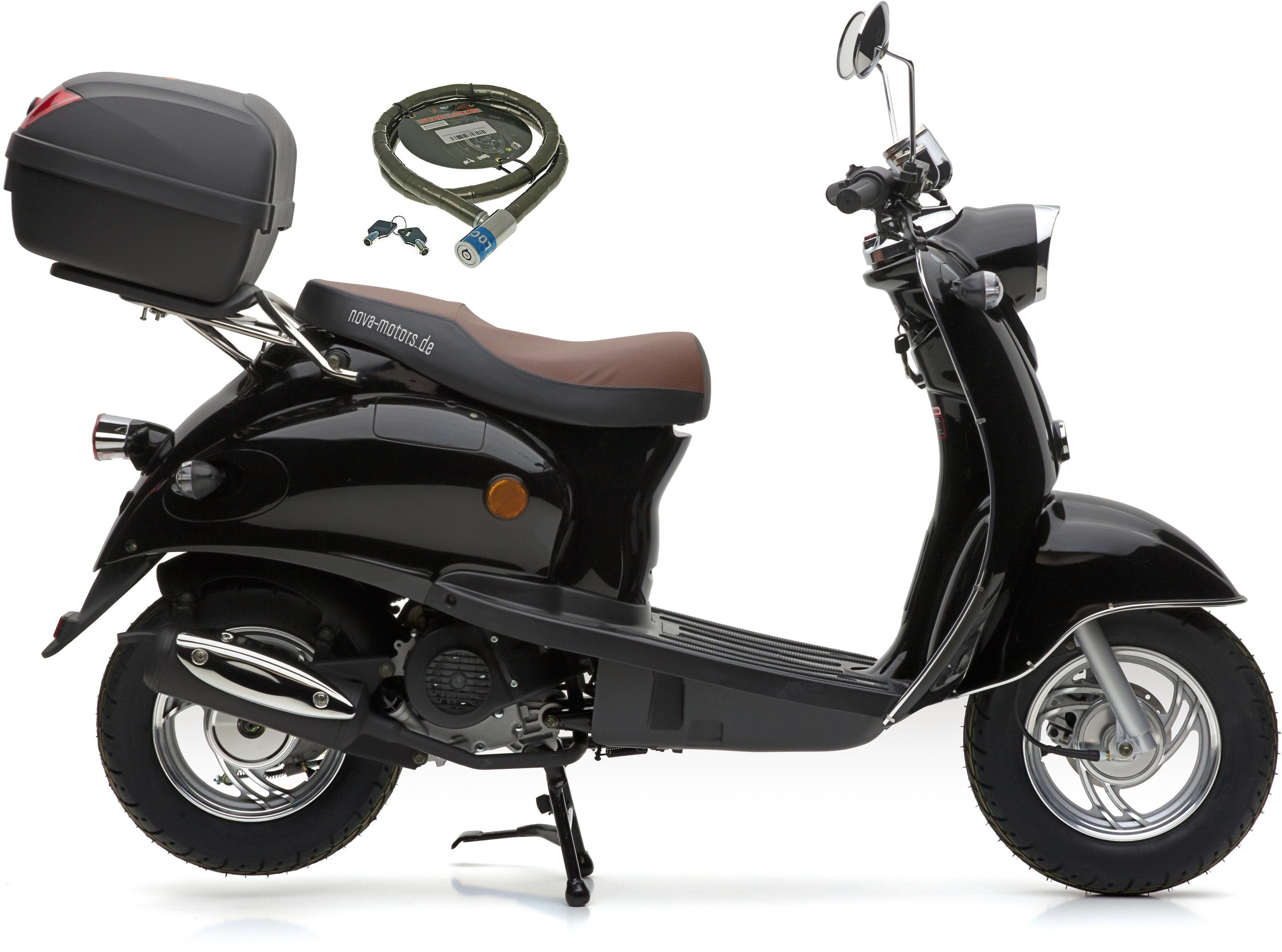 Nova Motors Motorroller »Retro Star«, 49 ccm, 45 km/h, Euro 4, (Set, mit Topcase), inkl. Topcase, 49 ccm, 45 km/h