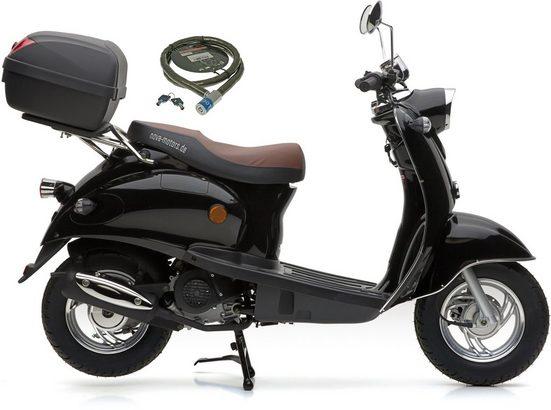 Nova Motors Motorroller »Retro Star«, 49 ccm, 45 km/h, Euro 4, (Set, mit Topcase)
