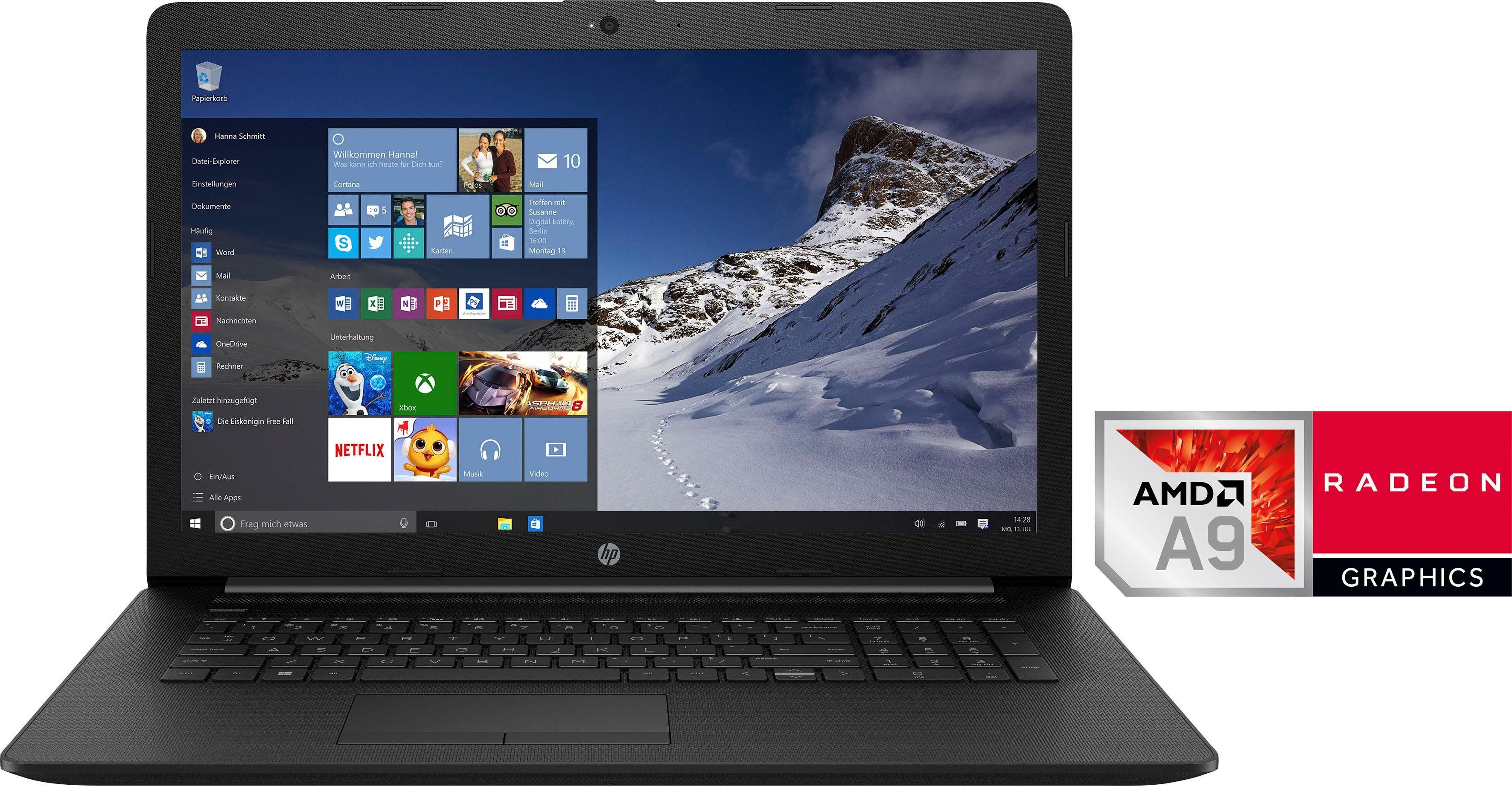 HP 17-ca0201ng Notebook (43,9 cm/17,3 Zoll, AMD A9, 1000 GB HDD, 128 GB SSD, inkl. Office 365 Personal (ESD)