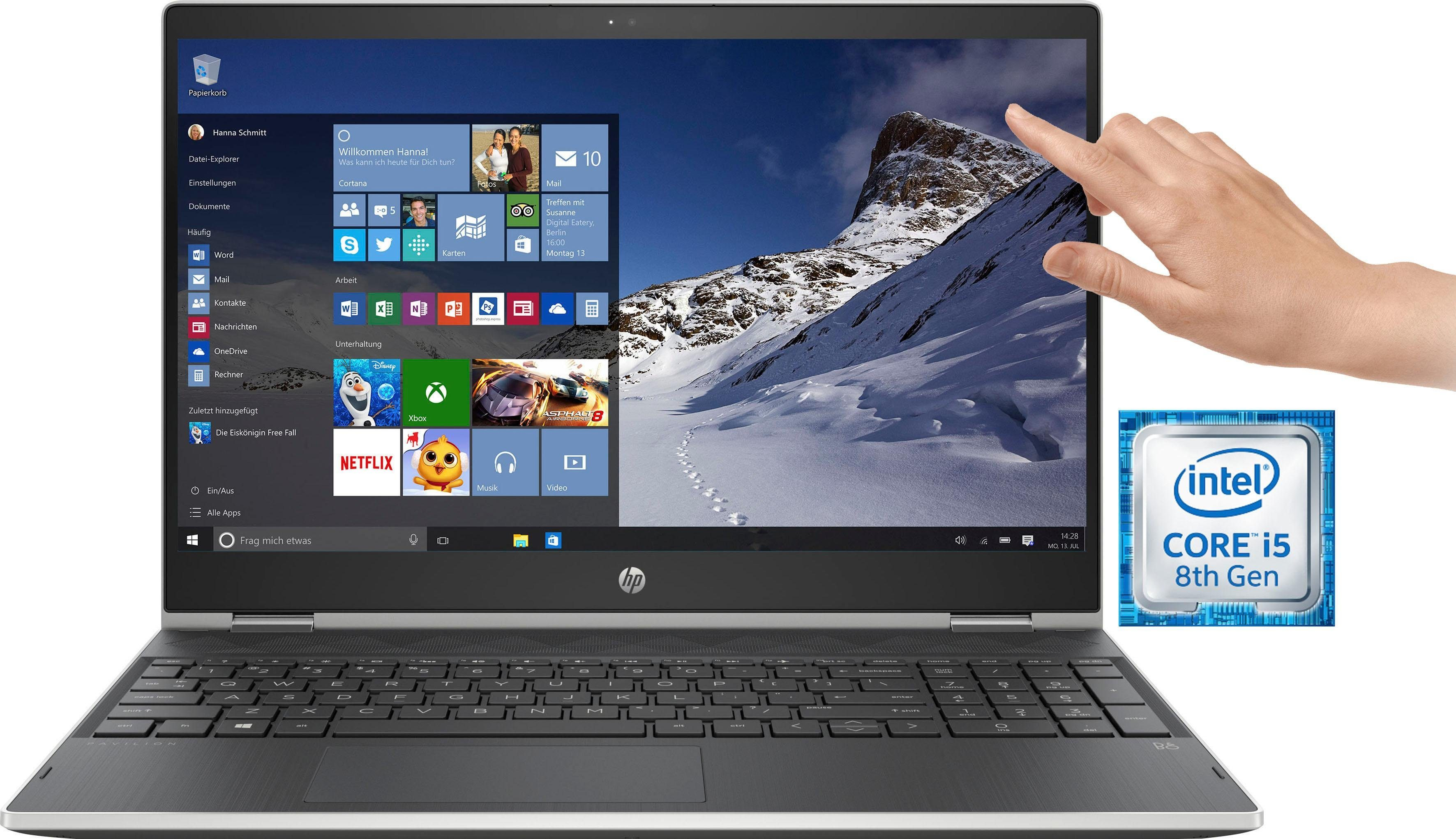 HP Pavilion x360 15-cr0004ng Notebook (39,6 cm/15,6 Zoll, Intel Core i5, 1000 GB HDD, 128 GB SSD, inkl. Office 365 Personal (ESD)