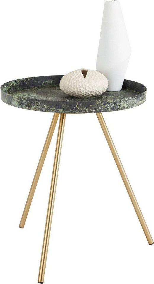 Home affaire beistelltisch mit gemusterter tischplatte for Tischplatte marmoroptik