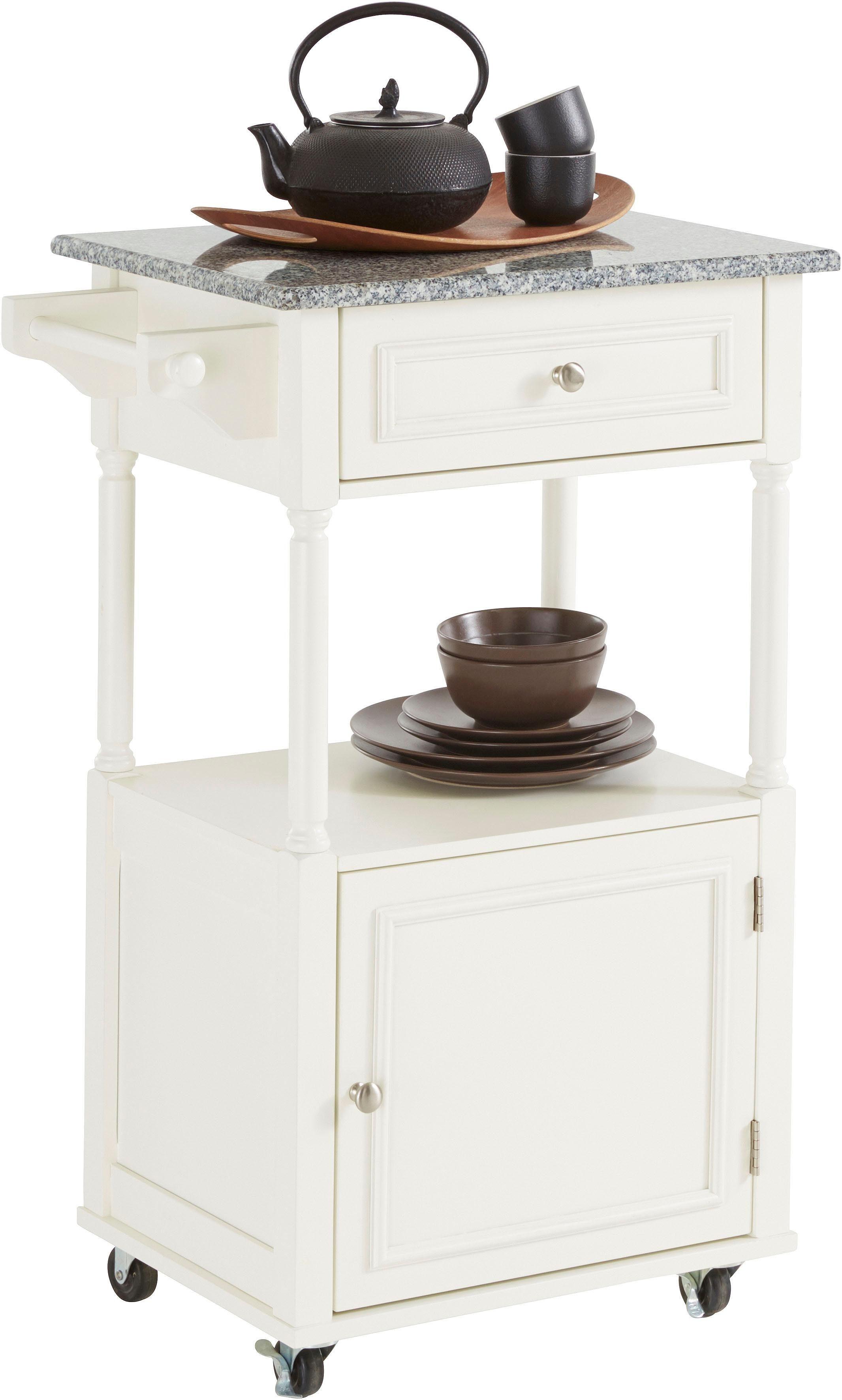 Home affaire Küchenwagen mit Tischplatte aus Marmor, Breite 60 cm