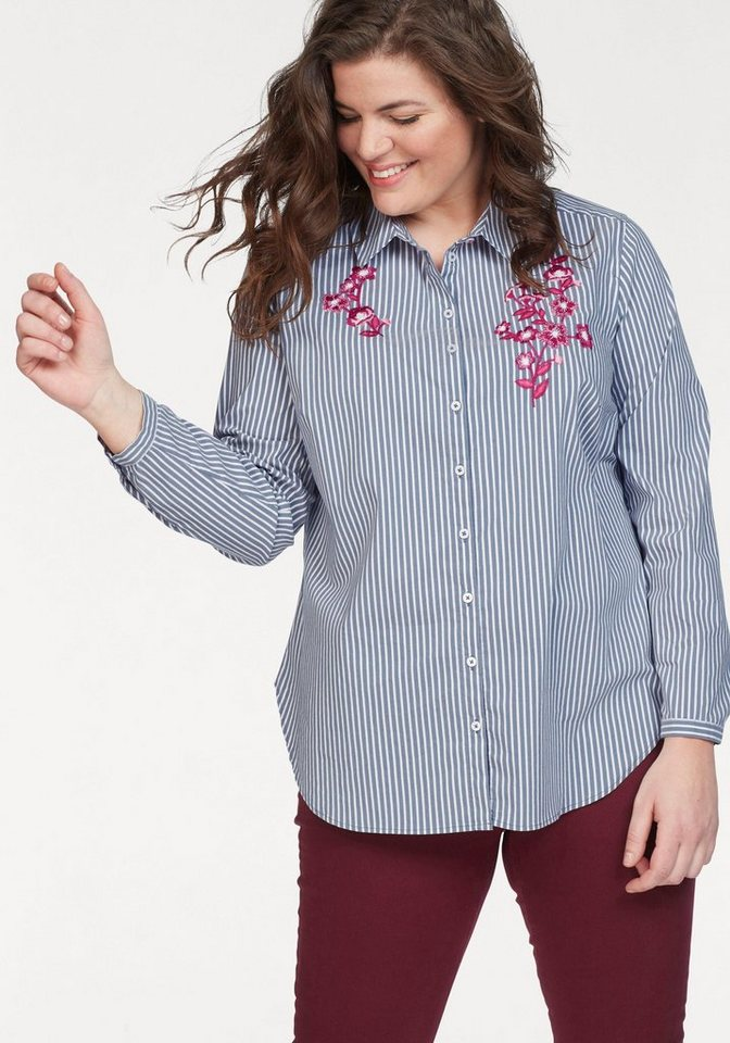 VIA APPIA DUE Druckbluse mit Stickerei   Bekleidung > Blusen > Druckblusen   Blau   Jeans   VIA APPIA DUE