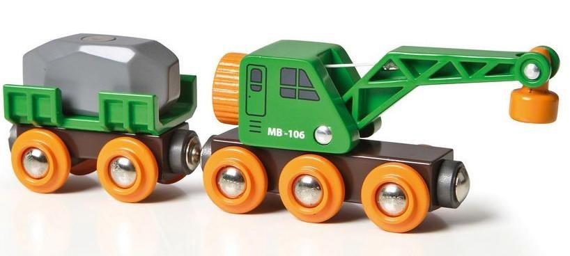 Brio® Spielzeugeisenbahn,  BRIO® WORLD Grüner Kranwagen mit Anhänger und Fracht  online kaufen