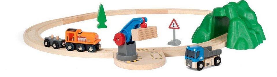Brio игрушки Eisenbahn Brio World Starterset Güterzug Mit Kran Set
