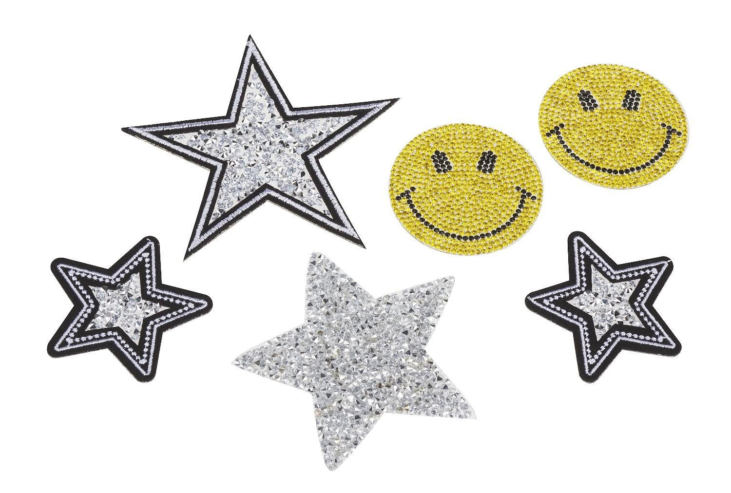 "VBS Bügelapplikation ""Smile & Stars Strass"" 6er-Set"