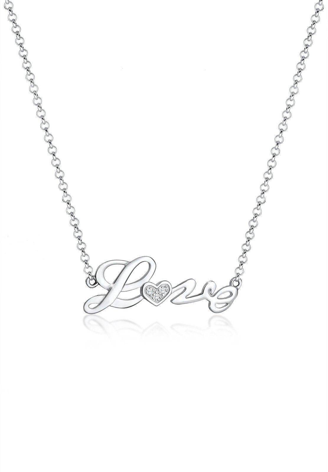 Elli Collierkettchen »Love-Schriftzug Liebe Zirkonia 925 Sterling Silber«
