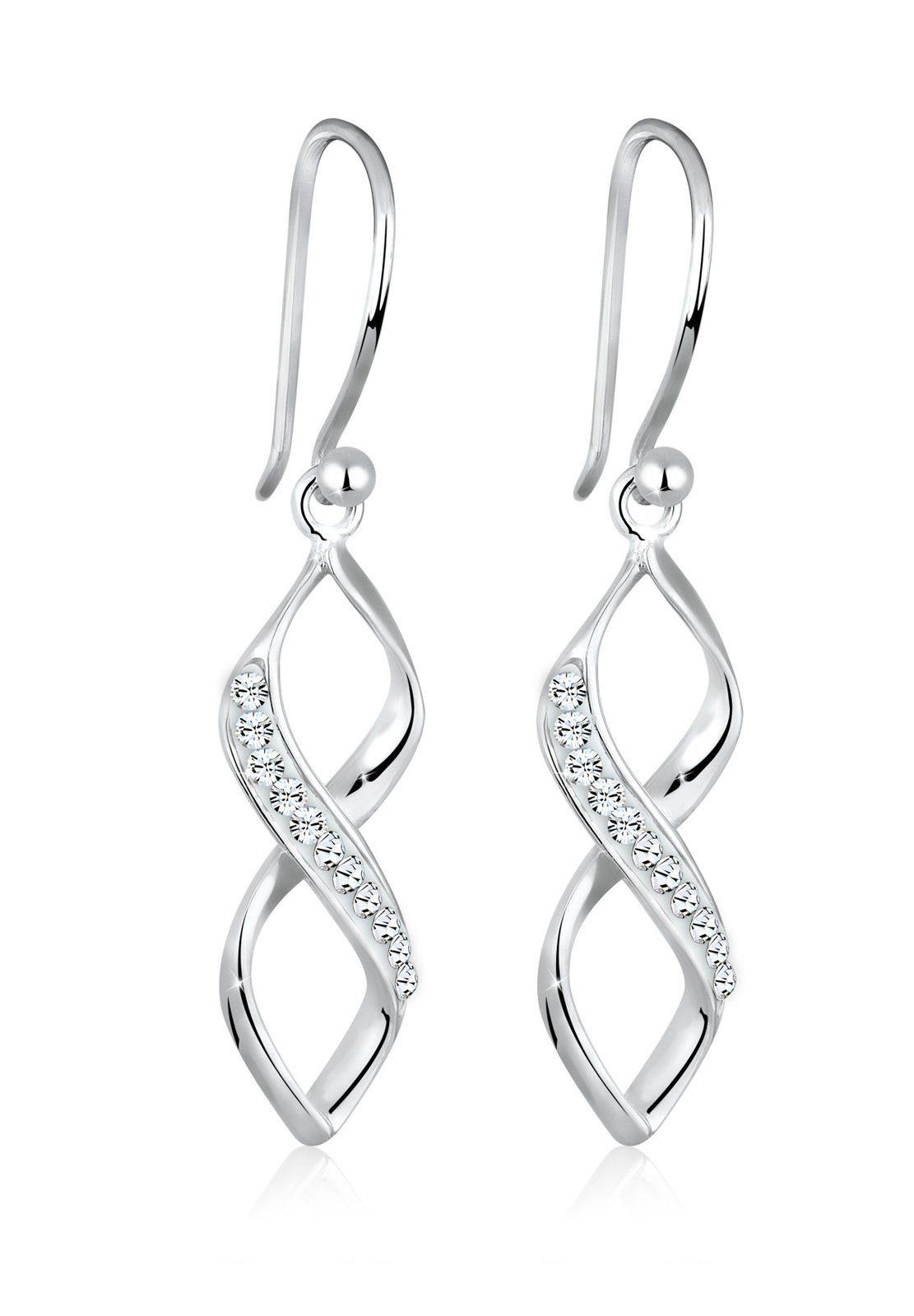 Elli Paar Ohrhänger »Spirale Infinity Swarovski® Kristalle Silber«