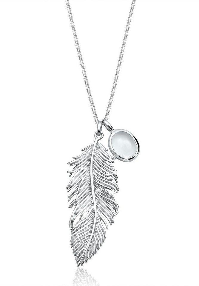 Anhänger Feder Silber 925 Halskette