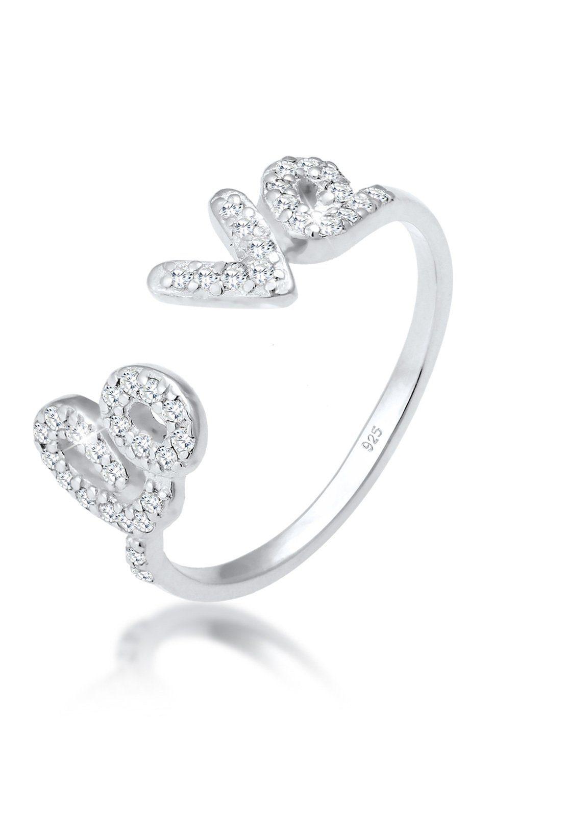 Elli Fingerring »Love-Schriftzug Zirkonia 925 Sterling Silber«