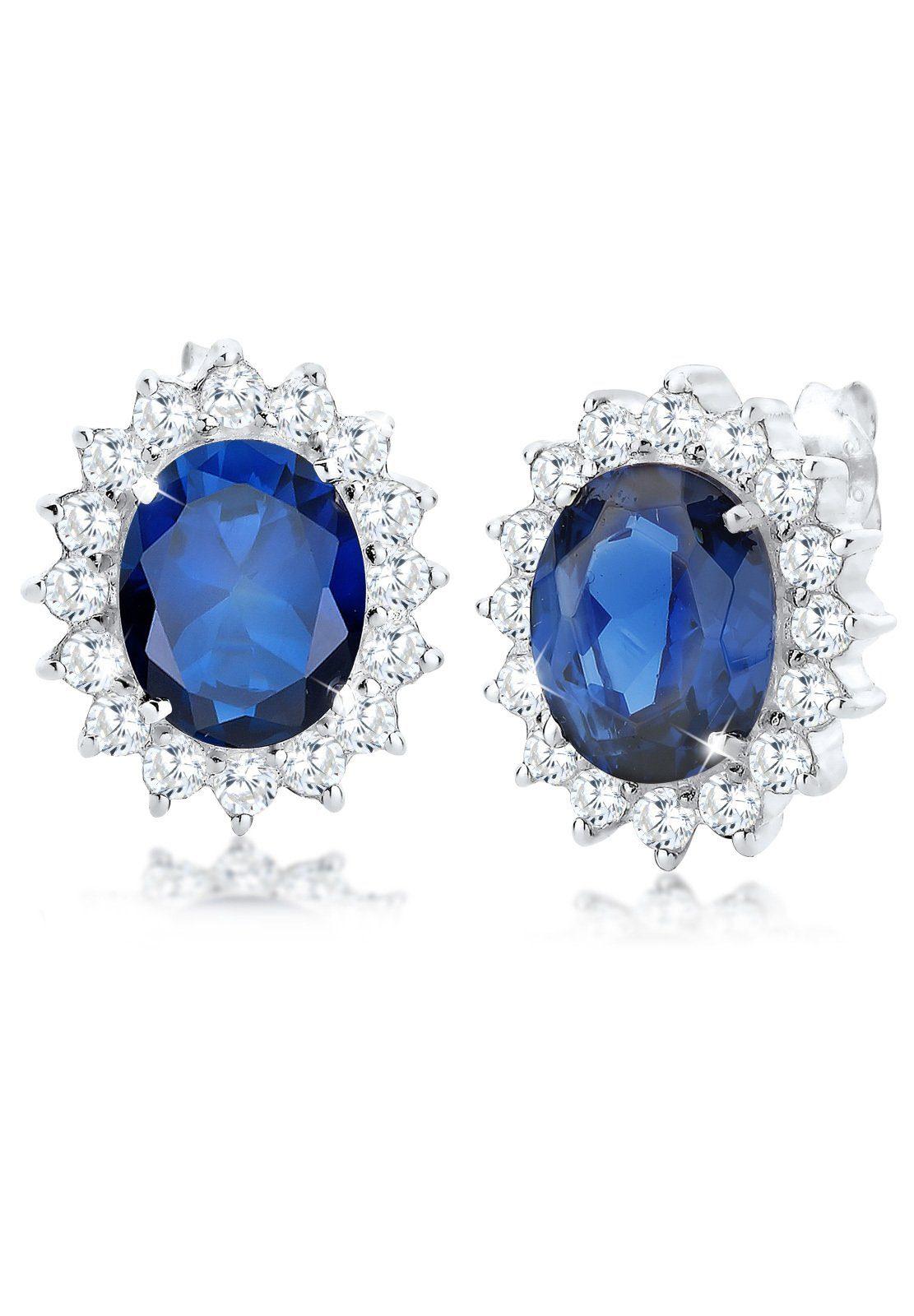 Elli Paar Ohrstecker »Saphirblau Zirkonia Royal Glamour 925 Silber«