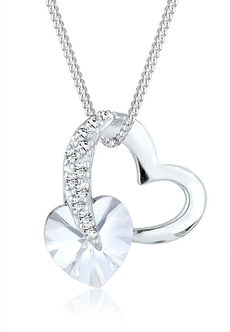 Elli Collierkettchen »Herz Anhänger Kristallen 925 Silber«