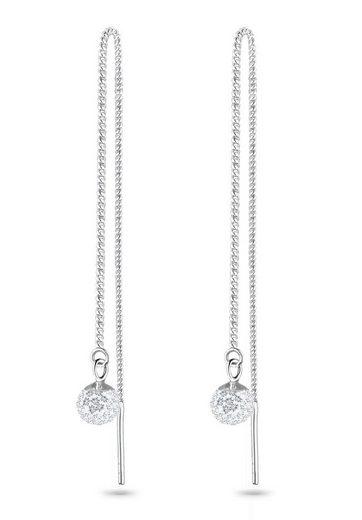 Elli Paar Ohrhänger »Hänger Durchzieher mit Kugel Kristalle«