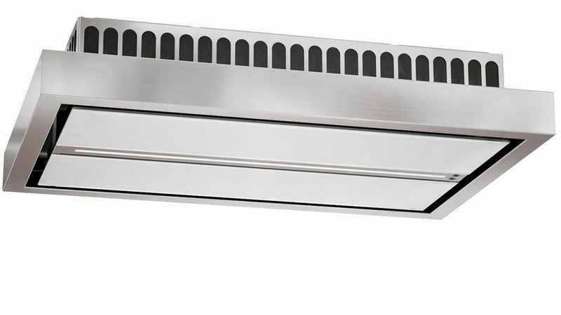 Baumann Deckenhaube Aura 120 WGL, Dunstabzugshaube 120 cm, Weißglas Edelstahl, 4 Stufen, LED Strip mit 14 W,ebm-Pabst-Motor, 940 m³/h
