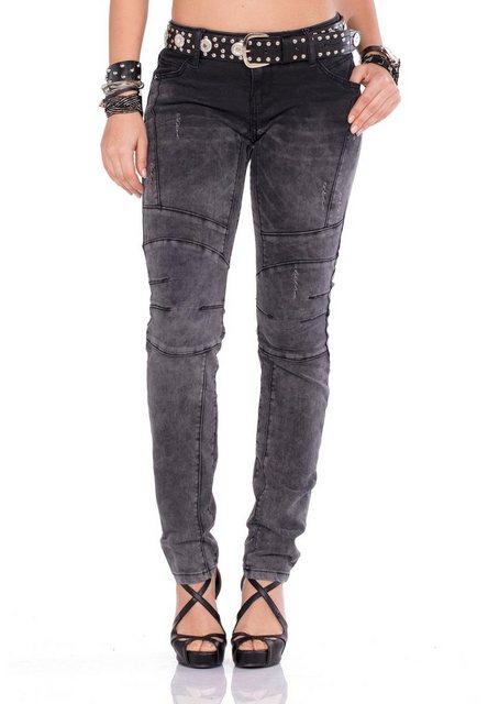 Hosen - Cipo Baxx Straight Jeans mit dicken Ziernähten und praktischem Gürtel › schwarz  - Onlineshop OTTO