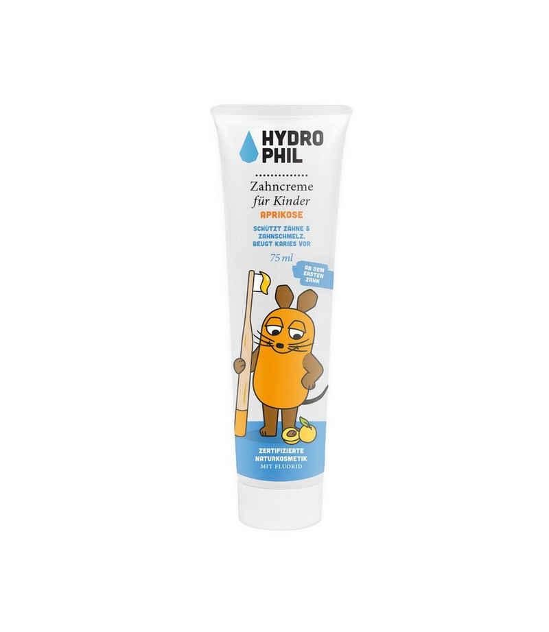 Hydrophil Zahnpflege-Set »Maus Kids Zahncreme - Aprikose - 75 ml«, Wasserneutral, Vegan & Fair