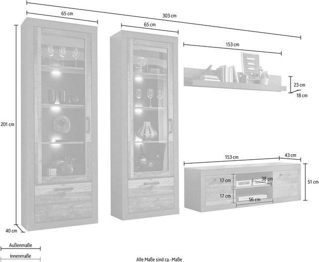 Wohnwände - Home affaire Wohnwand »BROOKLYN«, (4 St), in dekorativer Rahmenoptik  - Onlineshop OTTO
