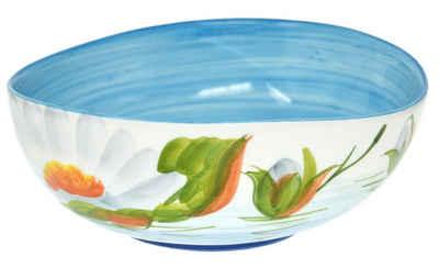 Lashuma Obstschale »Seerose«, Keramik, Salatschüssel handbemalt, Servierschale rund