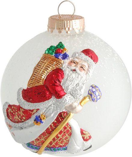 Krebs Glas Lauscha Weihnachtsbaumkugel »CBK80245« (1 Stück), mit 3-D Santa